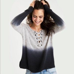 American Eagle Gray Ombre Lace Up Sweater | Medium